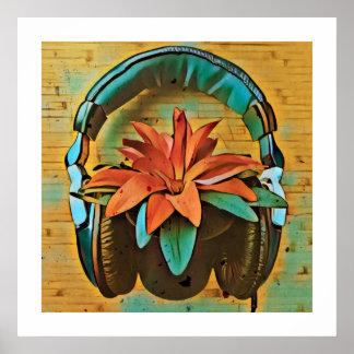 Retro växt med hörlurar poster