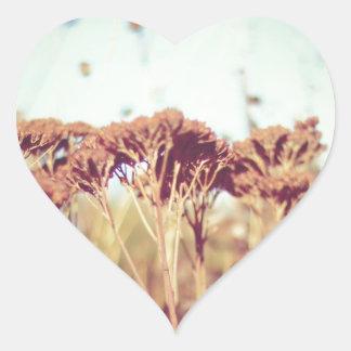 Retro växter hjärtformat klistermärke