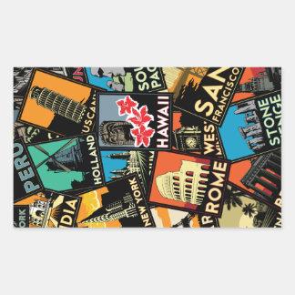 Retro vintage Europa asia USA för resor affischer Rektangulärt Klistermärke