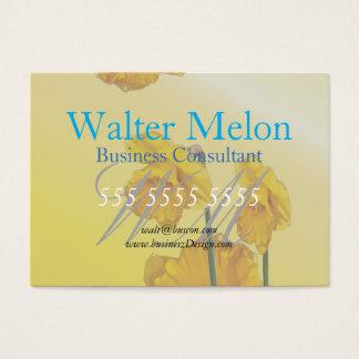 Retro vintage för gul pingstliljapåsklilja visitkort