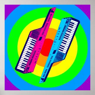 Retro vintage Keytar Synth för Corey tiger80-tal Affisch