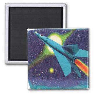 Retro vintagehötorgskonstraket till rymden magnet