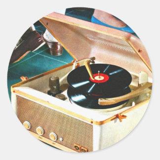 Retro vintagehötorgskonststen & rekord- Turntable Runt Klistermärke