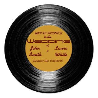 Retro vinylbröllopinbjudan fyrkantigt 13,3 cm inbjudningskort