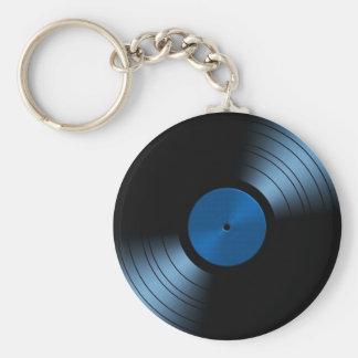 Retro vinylrekordalbum i blått rund nyckelring