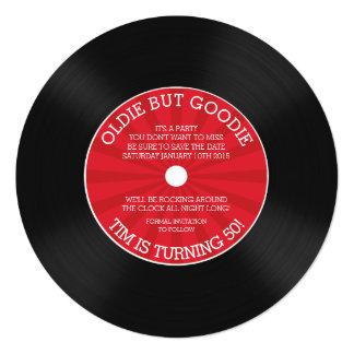 Retro vinylrekordfödelsedagsfest inbjudan