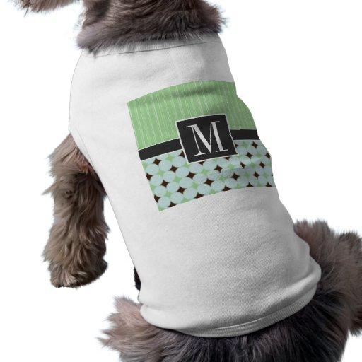 Retro vis mangrönt & brunt t-shirt för husdjur
