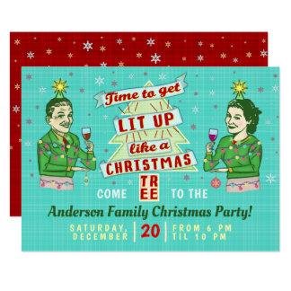 Retro vuxen dricka helgdag för roligt julparty 12,7 x 17,8 cm inbjudningskort