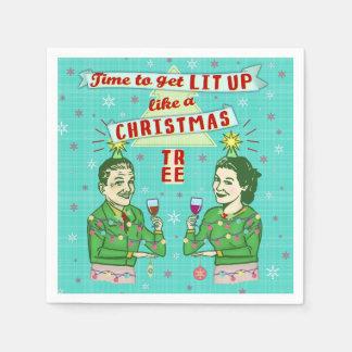 Retro vuxen dricka helgdag för roligt julparty pappersservett