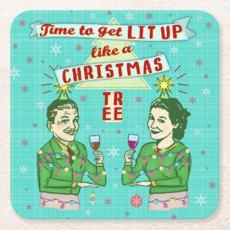 Retro vuxen dricka helgdag för roligt julparty underlägg papper kvadrat