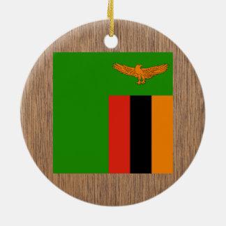 Retro Zambia flagga Julgransprydnad Keramik
