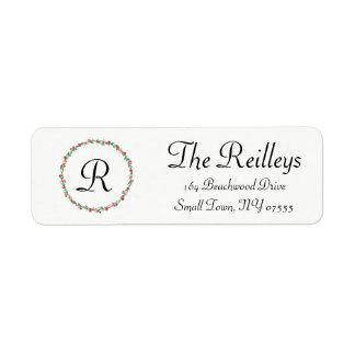 Retur märker - efternamn - den blom- prydnaden returadress etikett