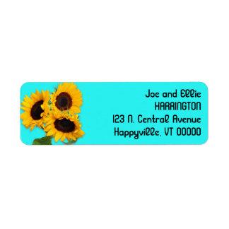 Returadress för blått för Aqua för solrosbukett Returadress Etikett