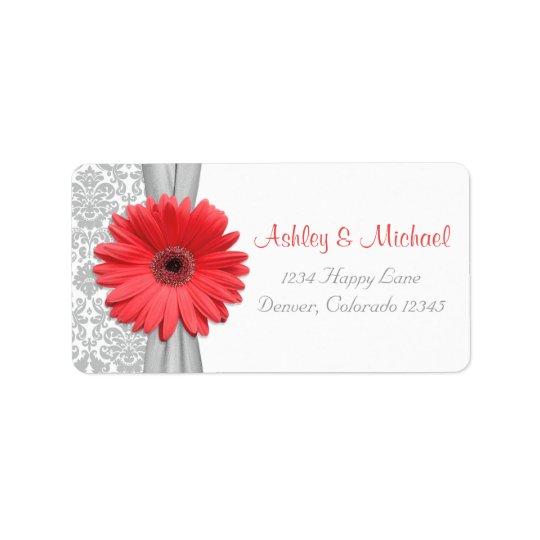 Returadress för bröllop för koralldaisygrå färg adressetikett