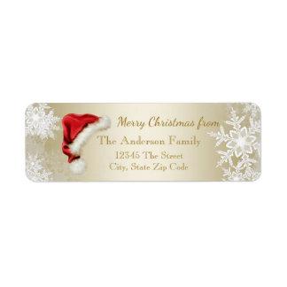 Returadress för jul för Santa hattSnowflake Returadress Etikett