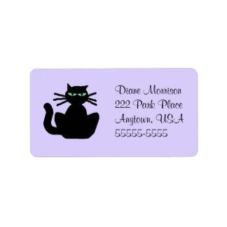 Returadress för kuvert för svart kattlavendel stor adressetikett