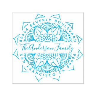 Returadress för typografi för blåttvattenMandala Självfärgande Stämpel