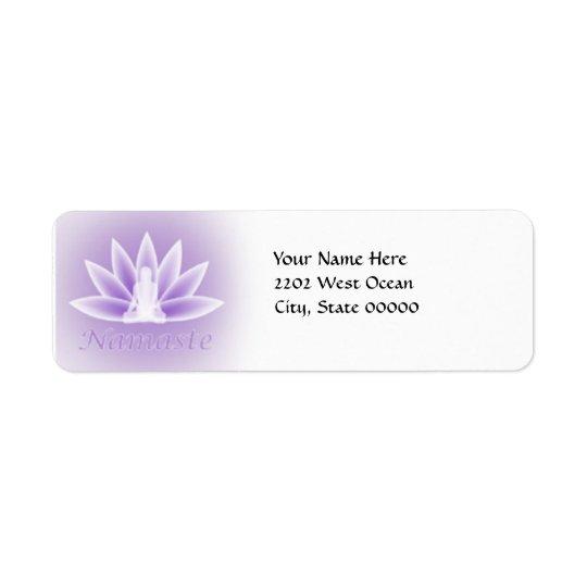 Returadress för Violet för blomma för Yogalotusblo Returadress Etikett