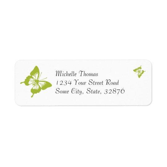 Returadress för vit- och gröntfjärilsbröllop returadress etikett