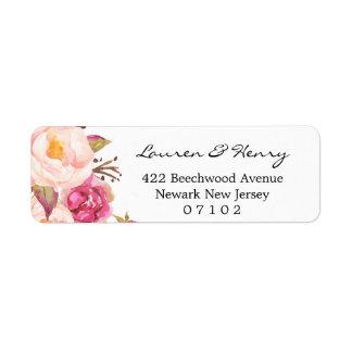 Returadressetikett - lantlig rosa blommigt #102 returadress etikett