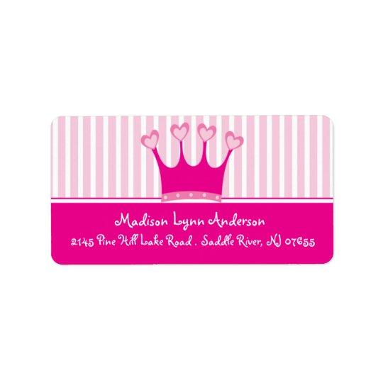 Returadressetiketter för Princess Kröna Adressetikett