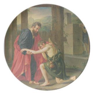 Returen av den Prodigal sonen, 1823 (olja i canva Dinner Plates