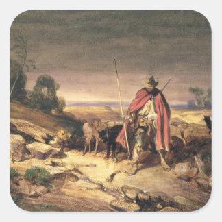 Returen av herden (skriva & bryna bläck, w/c & fyrkantiga klistermärken