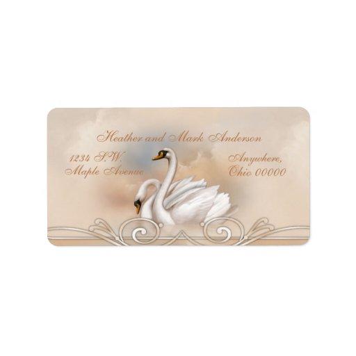 Returetiketter för bröllop för Elegan vitsvan Adressetikett