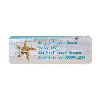 Returetiketter för helgdag för sjöstjärnahavvatten returadress etikett