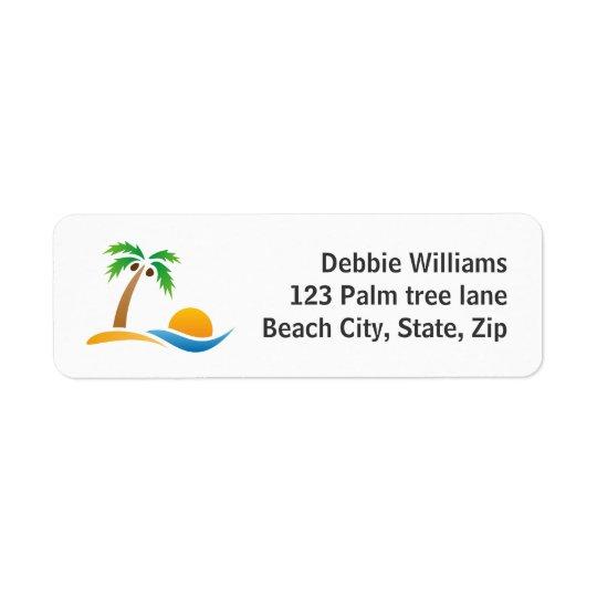 Returetiketter för palmträdösoluppgång returadress etikett