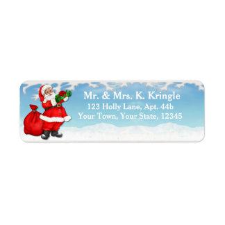 Returetiketter för Santa Gifs vintersnö Returadress Etikett