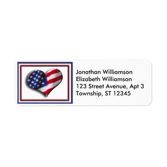 Returetiketter för USA hjärtaflagga Returadress Etikett
