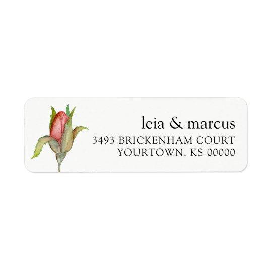 Returetiketter som gifta sig vattenfärgroknoppen returadress etikett