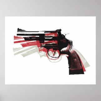 Revolverpistolvapen på vit poster