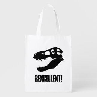 """""""Rexcellent!"""", T-Rex skalle (2-sided) Återanvändbar Påse"""