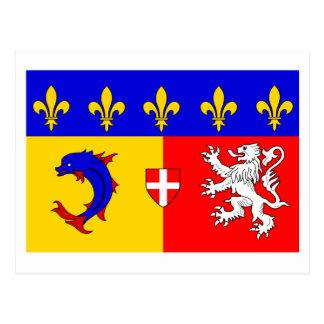 Rhône-Alpes flagga Vykort