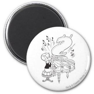 Richie rikt leka piano - B&W Magnet