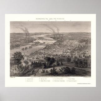 Richmond panorama- karta för VA - 1863 Poster