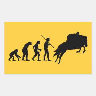Rid- evolution från man till hästryggen rektangulärt klistermärke