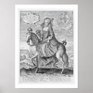 Rid- porträtt av Anne av Danmark 1574-1619 Affischer