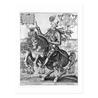 Rid- porträtt av Charles Howard (1536-1624) Vykort