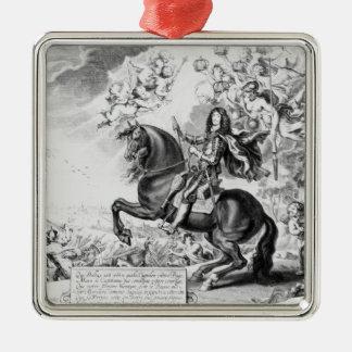 Rid- porträtt av Charles II med gudar Julgransprydnad Metall