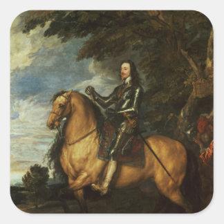 Rid- porträtt av Charles mig c.1637-38 Fyrkantigt Klistermärke