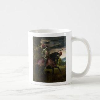 Rid- porträtt av Charles V vid Titian Kaffemugg