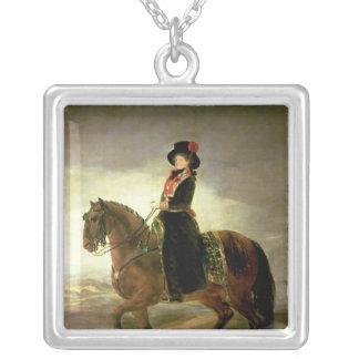 Rid- porträtt av drottningen Maria Luisa Silverpläterat Halsband