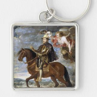 Rid- porträtt av Philip II Peter Paul Rubens Fyrkantig Silverfärgad Nyckelring