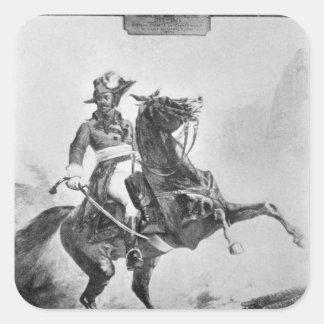 Rid- porträtt av Thomas Alexandre Fyrkantigt Klistermärke