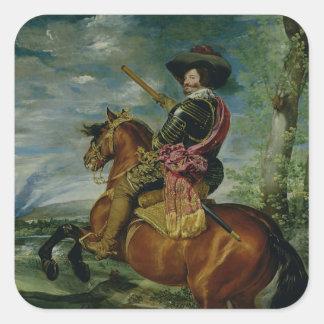 Rid- porträtt av Universitetslärare Gaspar de Fyrkantigt Klistermärke