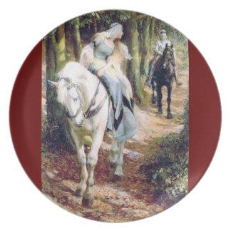 Riddare för damvithäst i skogen tallrikar