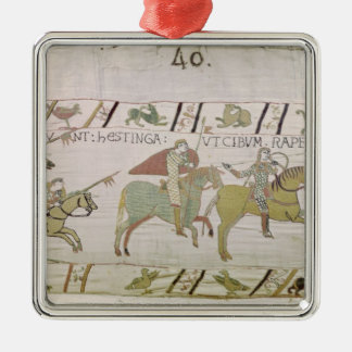 Riddareritten till Hastings som ska sökas efter Silverfärgad Fyrkantigt Julgransprydnad
